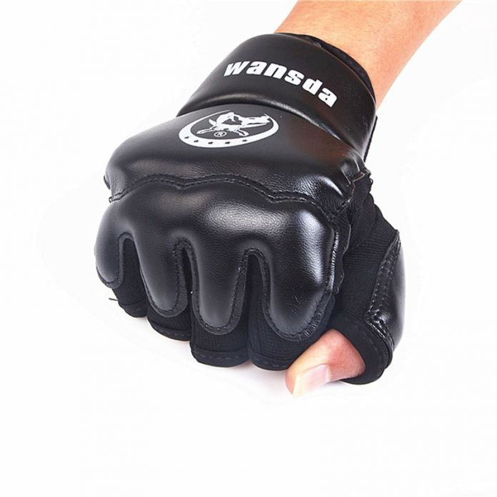 Взрослые/Дети Половины Пальцев Боксерские Перчатки Рукавицы Санда Каратэ Sandbag Таэквондо Протектор Для Boxeo ММА Удар