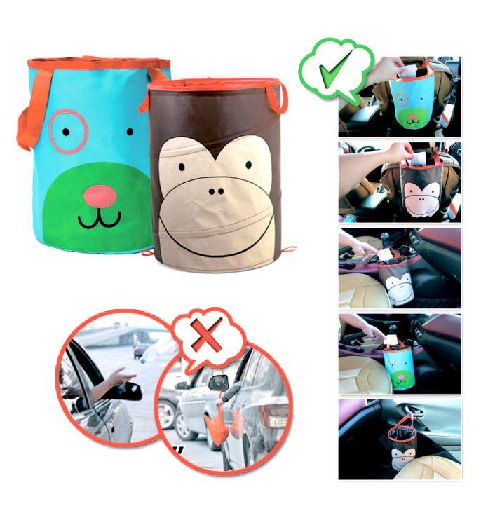 Корзина автомобильная для хранения «ОБЕЗЬЯНКА» (MONKEY Animal toy storage bucket for car.Material: 420D oxford +steel wire,)