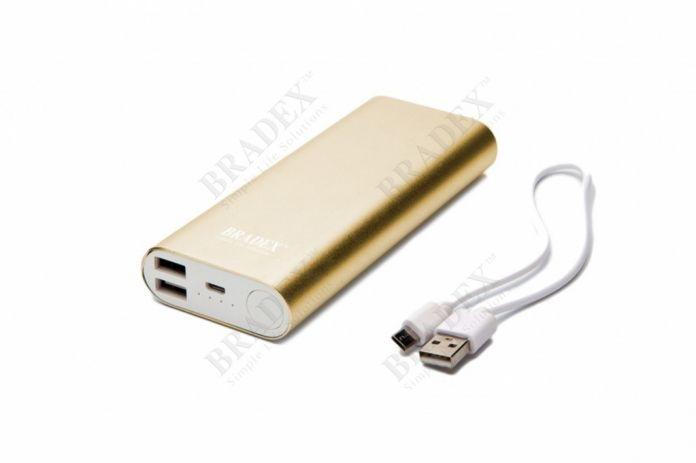 Аккумулятор внешний 10 000 mAh, золотой (Power bank 10 000 mAh, gold)