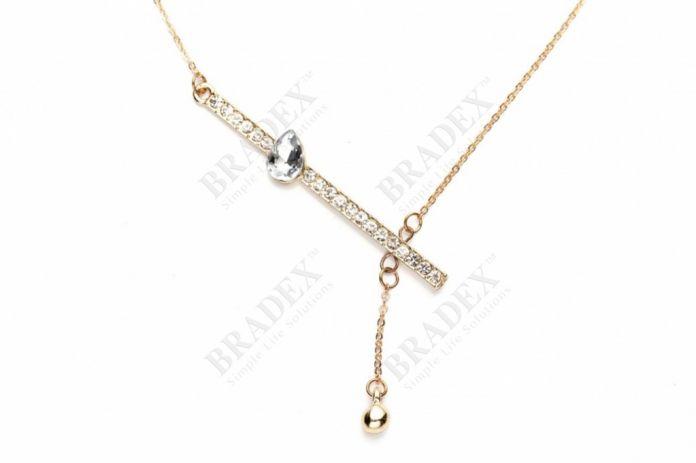 Колье «ХРУСТАЛЬНАЯ КАПЛЯ» цвет золотой (Chain with pendant)