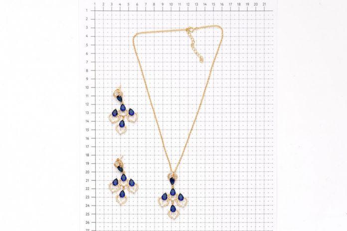 Комплект «ЛОНДОНСКИЕ ТОПАЗЫ» (BJ-1 Material: Brass gold plated. Zircon, crystals. Chain length:40+5cm)