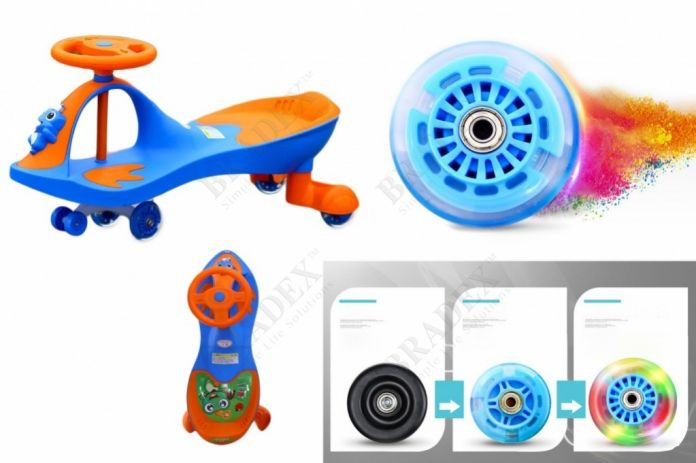 Машинка детская с полиуретановыми колесами «БИБИКАР-ЛЯГУШОНОК» синий (Frog Bibicar, blue)
