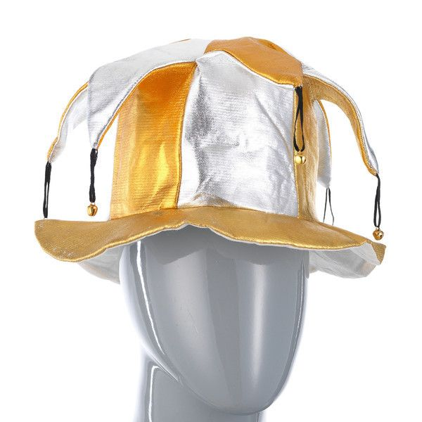 фото колпак шутовской серебряно-золотой с бубенцами блестящий
