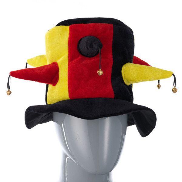 фото колпак шутовской шляпа жёлто-чёрн. -красн. с шипами и бубенцами