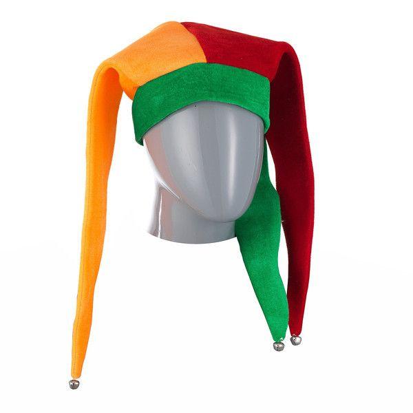 фото колпак шутовской желто-зелено-красный с бубенцами
