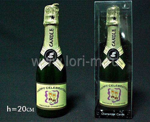 фото 128-013 Свеча Бутылка шампанского в под.уп.(х48)Парафин