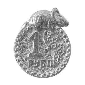 фото Монетка с мышкой, фигура, олово,  D-1см