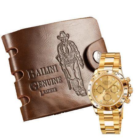 фото Набор Кошелек Bailini Genuine + подарок Часы ROLEX Daytona