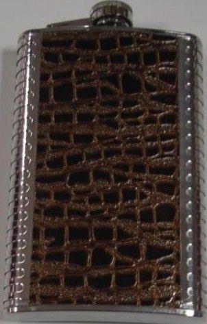 фото PS-012 Фляга металл, вставка кожа 0,3л.