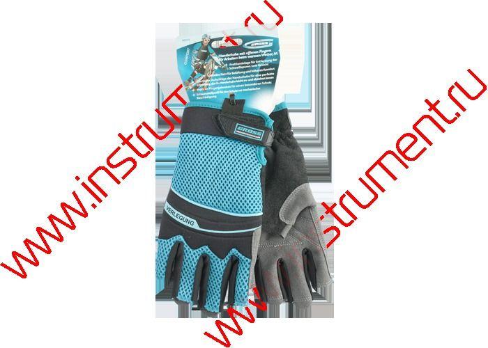 фото Перчатки комбинированные облегченные, открытые пальцы, М