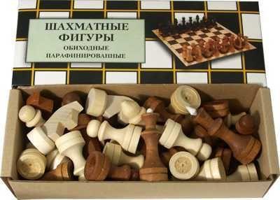 фото Фигуры шахматные деревянные ОБИХОДНЫЕ ПАРАФИНИРОВАННЫЕ Арт.С-2 г.Орлов