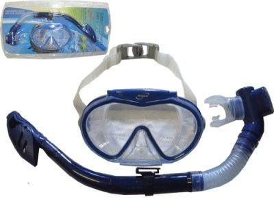 фото Набор для плавания. Маска с клапаном, широкоформатный иллюминат. Оправа из ударостойкой пластмассы. Крепления для камеры. Обтюратор силикон. Трубка - гибкие сегменты, дыхательный клапан силикон, крепление для маски, волноотбойник, загубник силикон. SG3