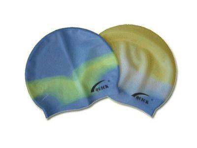 фото Шапочка для плавания детская (силикон, трёхцветная в сумочке).