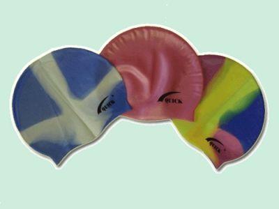 фото Шапочка для плавания QUICK (силикон,безразмерная, взрослая, в полиэтиленовой сумочке на молнии . 3х-цветов). T8156 SB052
