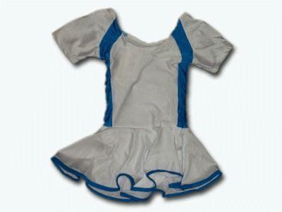 фото Купальник гимнастический модельный с юбкой. Состав: полиэстер. Размер М. Цвет: бело-бирюзовый. 2008