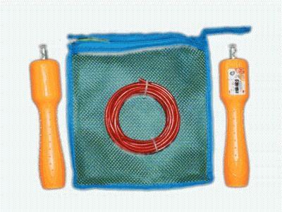 фото Скакалка с механическим счётчиком, регулируемая длина шнура. Упаковка - тканевая сумочка.