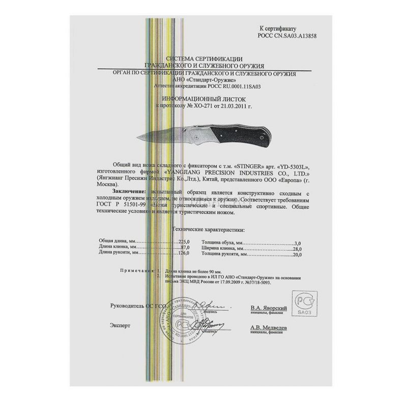 фото Нож складной Stinger YD-5303L 100мм, рукоять сталь/дерево