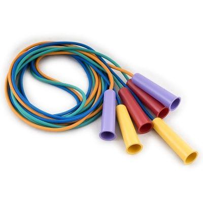 фото Скакалка резиновая, цветная, 2,85 м, диам 5мм, пластиковые ручки, ТОЛЬКО УПАКОВКАМИ ПО 10 ШТ