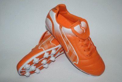 фото Бутсы футбольные SPRINTER, верх - PVC, подошва - резина, круглые шипы, р-р 40. Цвет: оранжевый, белый. AX5390-40 ORANGE/WHITE
