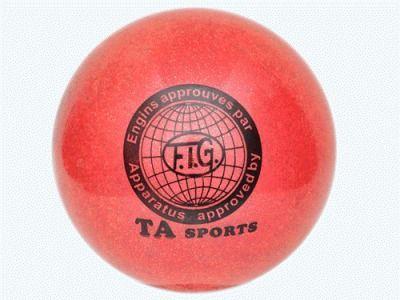 фото Мяч для художественной гимнастики. Диаметр 15 см. Цвет красный с добавлением глиттера. Т12