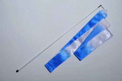 фото Лента гимнастическая 6м. с палочкой 56см. Цвет бело-голубой. АВ236-1