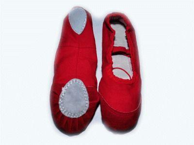 фото Балетки (ткань+кожа) , цвет - красный. Размер 36.