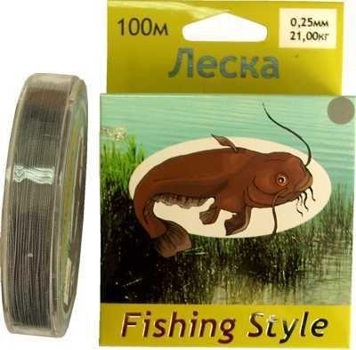 фото Леска Fishing Style RL2902 0.14mm тест 11.00кг 100m (плетенка серая)