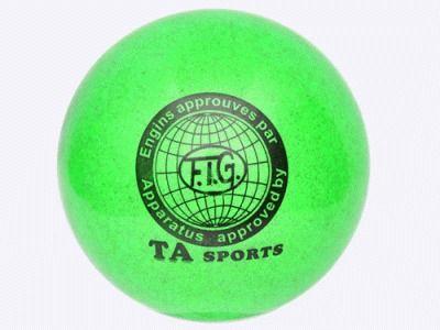 фото Мяч для художественной гимнастики силикон TA sport. Диамерт 19 см. Цвет зеленый с добавлением глиттера. Т9