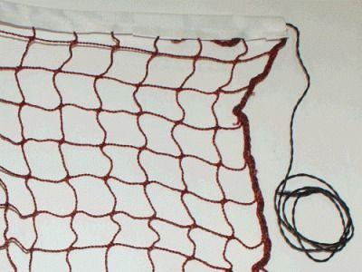фото Сетка для бадминтона с тросом. Размер 610 х 76 см. Размер ячейки 2х 2 см. Ширина стропы 2 см. MY0805